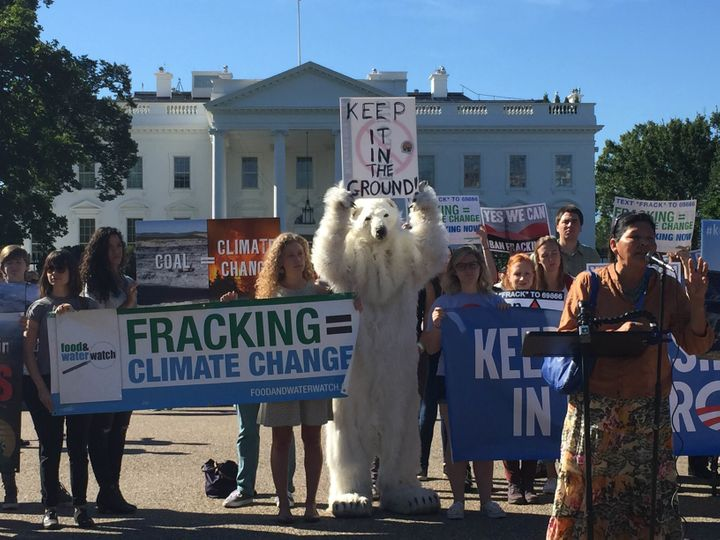 A rally outside the White House on Sept. 15 protested fossil fuel extraction on public lands.
