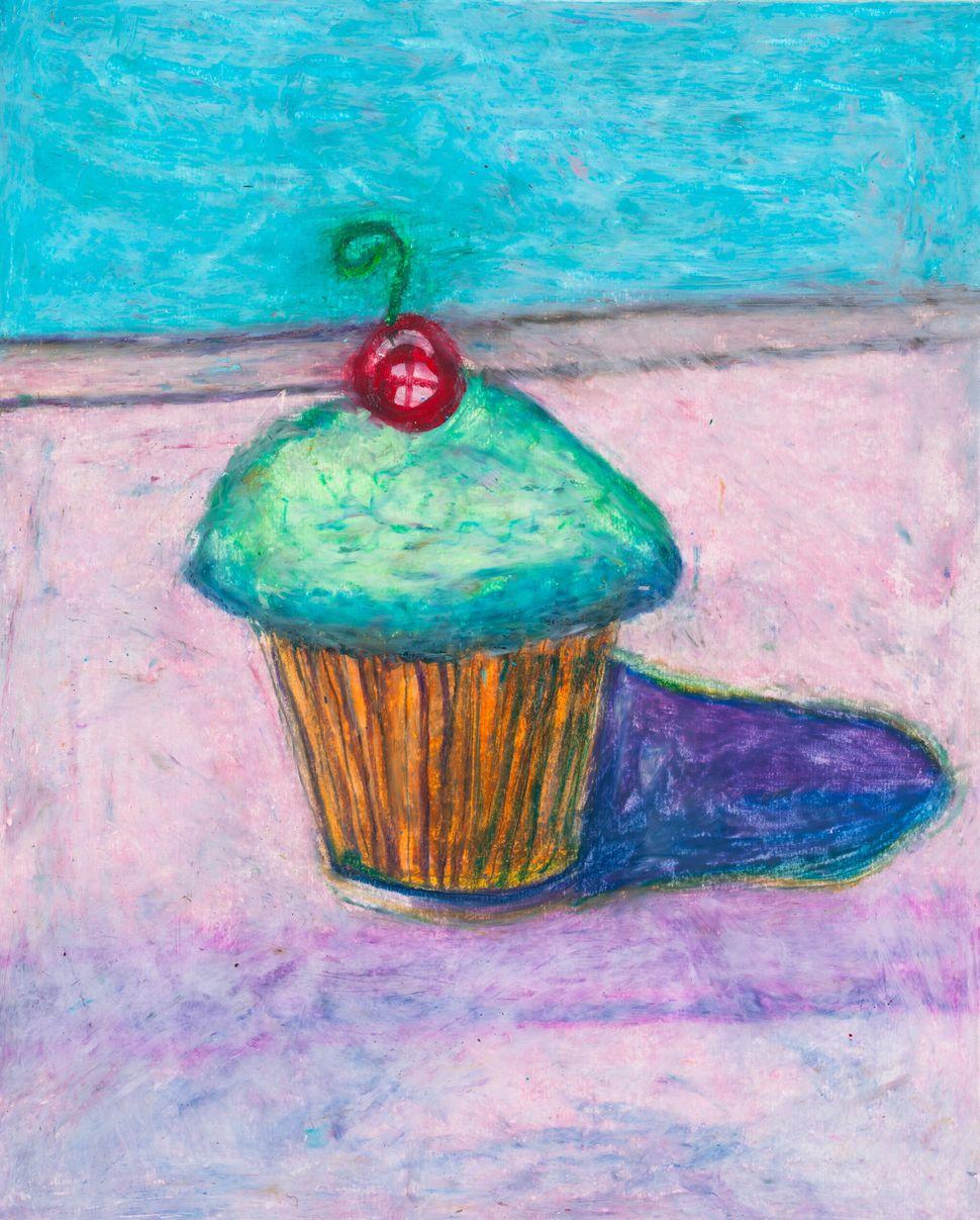 Wayne Thiebaud Cupcake, 15x12 oil pastel