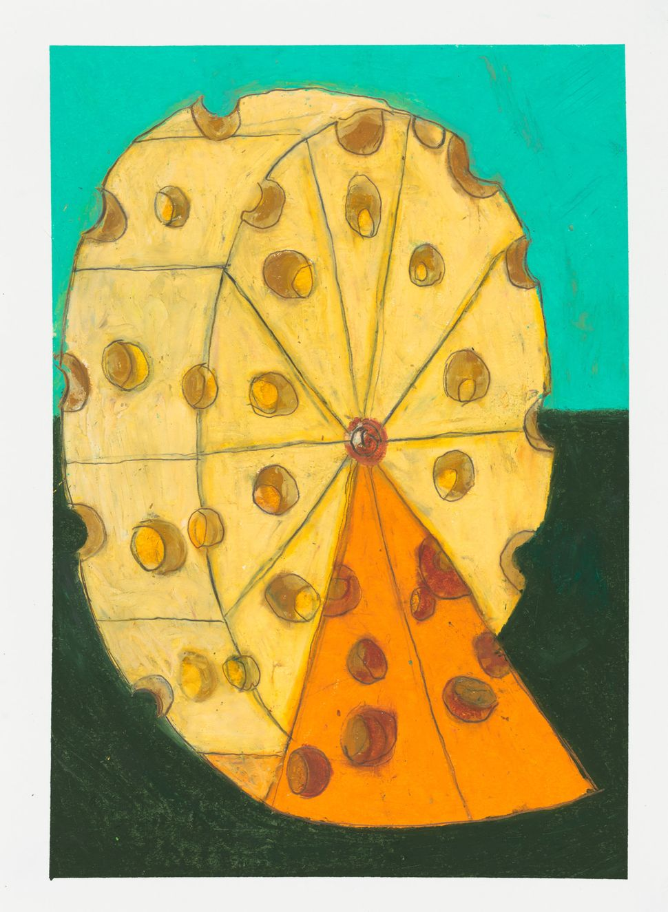 "Ferris Wheel Swiss Cheese Orange And Yellow, Oil pastel on paper, 16"" x 12"""