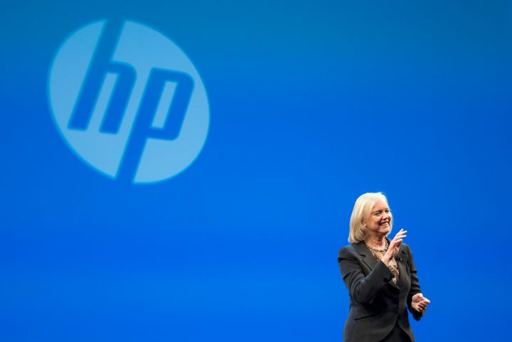 Hewlett-Packard CEO Meg Whitman speaks during the HP Discover 2015 conference in Las Vegas, Nevada,onJune 2, 2015