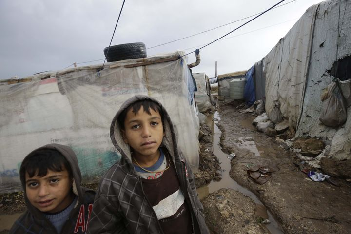 Refugees in Lebanon are struggling to live in dire conditions, such as the storm-damaged camp seen here.