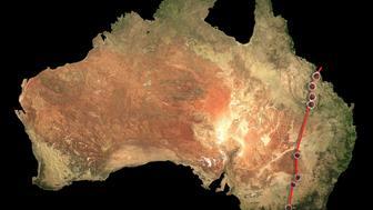 The volcano chain in Australia.