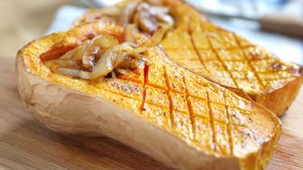 Roast butternut squash topped with spiced, caramelised onions.