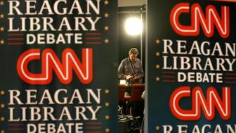 SIMI VALLEY, CALIF. -- TUESDAY, SEPTEMBER 15, 2015: Preparations are underway in the CNN Spin Room for the GOP debate at the Ronald Reagan Presidential Library in Simi Valley, Calif., on Sept. 15, 2015. (Photo by Brian van der Brug/Los Angeles Times via Getty Images)