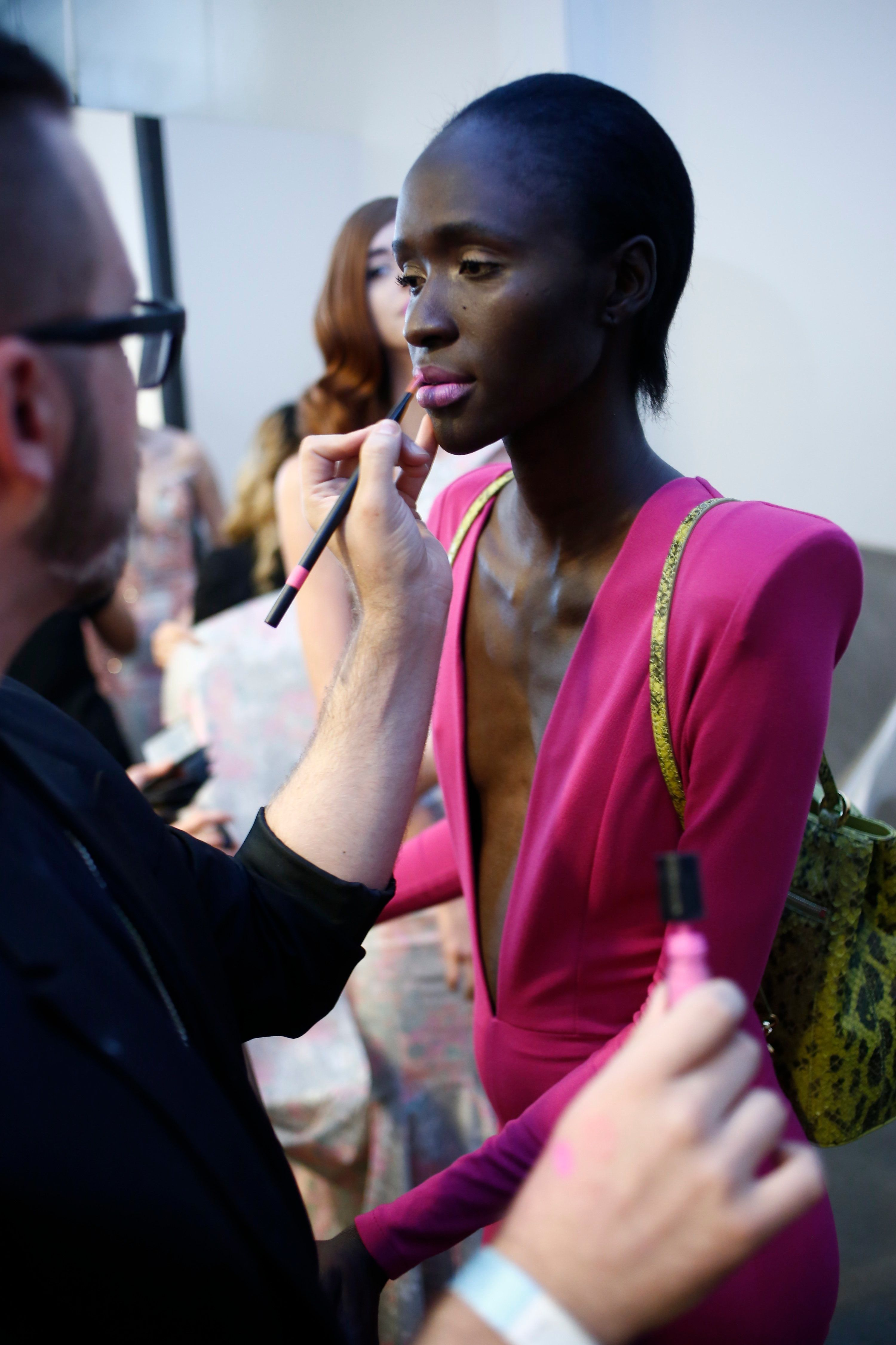 A model getting ready backstage at the Michael Costello show during Spring 2016 New York Fashion Week at Pier 59 on September 15, 2015 in New York City.