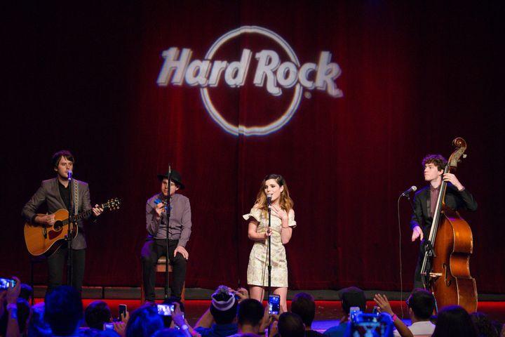 Echosmith performing at Hard Rock cafe for Pinktober.