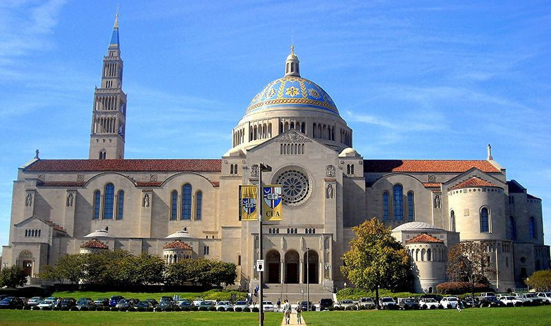 The Basilica of the National Shrine of the Immaculate Conception, located on the Catholic University of America campus in Was