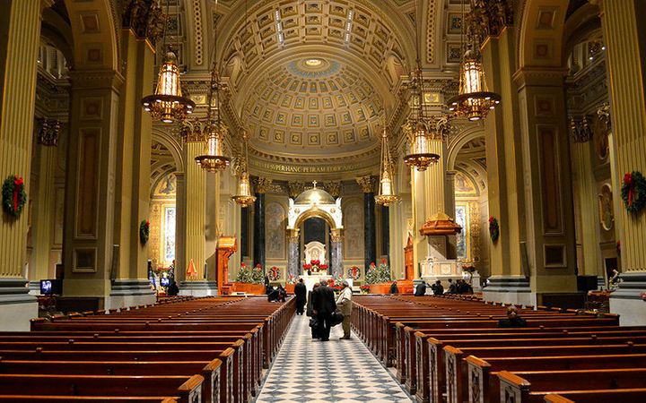 Image of the interior of the Cathedral Basilica of Saints Peter and Paul in Philadelphia.