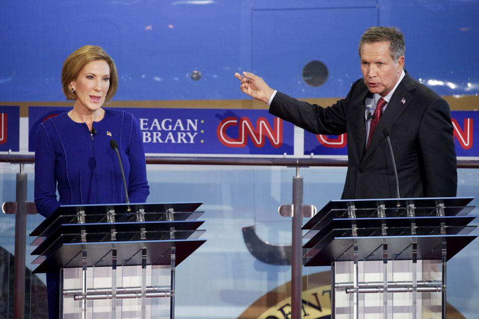 Carly Fiorina, former chairman and CEO of Hewlett-Packard Co. and 2016 Republican presidential candidate, left, and John