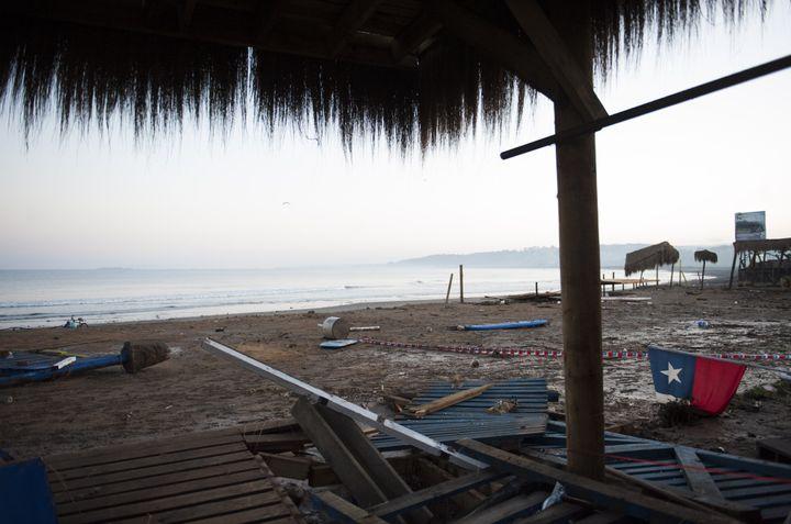 Debris litters a beach in Concon, Chile, on Sept. 17, 2015.