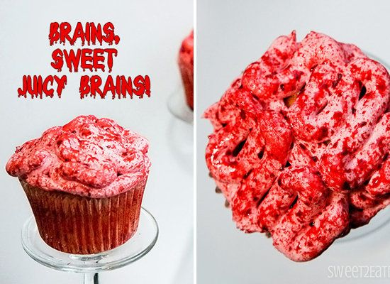 "<strong>Get the <a href=""http://www.sweet2eatbaking.com/bloody-brains-cupcakes/"">Bloody Brains Cupcakes recipe</a> from Sweet"