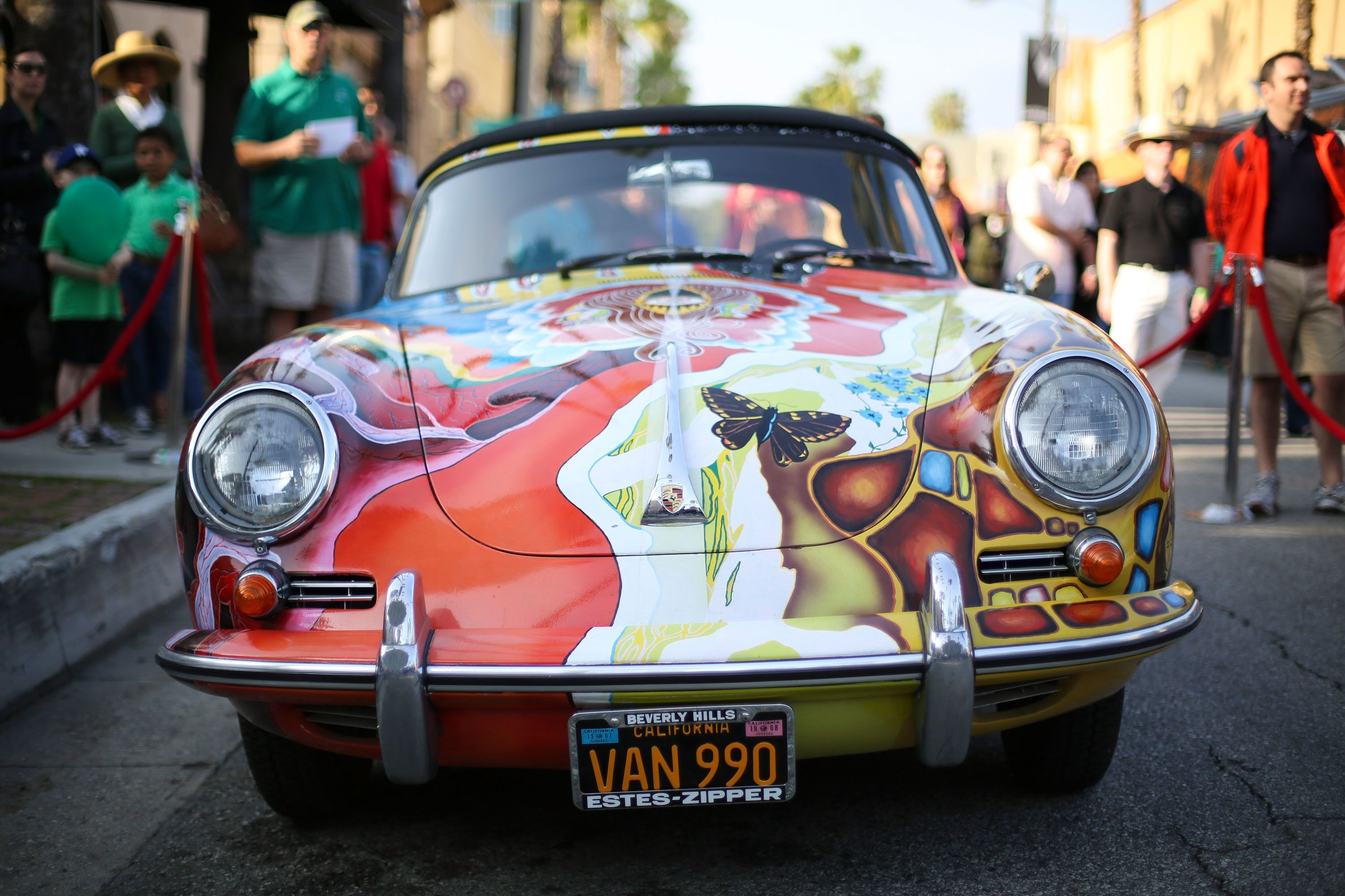 PASADENA, CA - MARCH 17:  A general view of Janis Joplin's hand-painted, psychedelic, 1965 Porsche 356c Cabriolet on display during the opening night of 'One Night With Janis Joplin' at Pasadena Playhouse on March 17, 2013 in Pasadena, California.  (Photo by Imeh Akpanudosen/Getty Images)