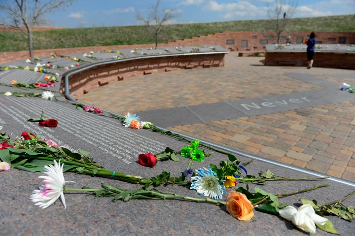 Flowers at the Columbine Memorial onthe 16th anniversary of the deadly shooting at Columbine High School in Colorado, w