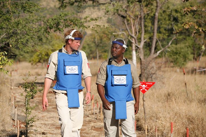 Prince Harry is seen with a deminer from The Halo Trust, a British charity dedicated to removal of landmines, on June 21, 201