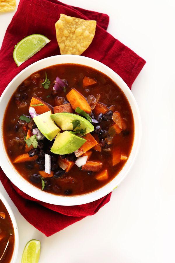 "<strong>Get the <a href=""http://minimalistbaker.com/5-ingredient-sweet-potato-black-bean-chili/"" target=""_blank"">5-Ingredient"