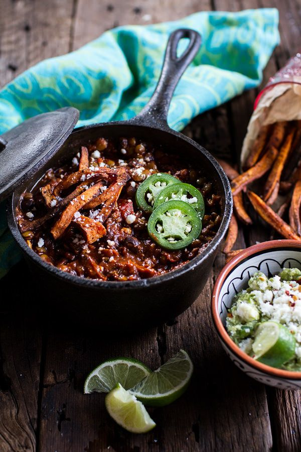 """<strong>Get the <a href=""""http://www.halfbakedharvest.com/spicy-black-bean-lentil-chili-cotija-guacamole-chipotle-sweet-potato"""