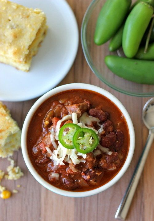 """<strong>Get the <a href=""""http://damndelicious.tumblr.com/post/32315373964/steak-chili"""">Steak Chili recipe</a>from Damn"""