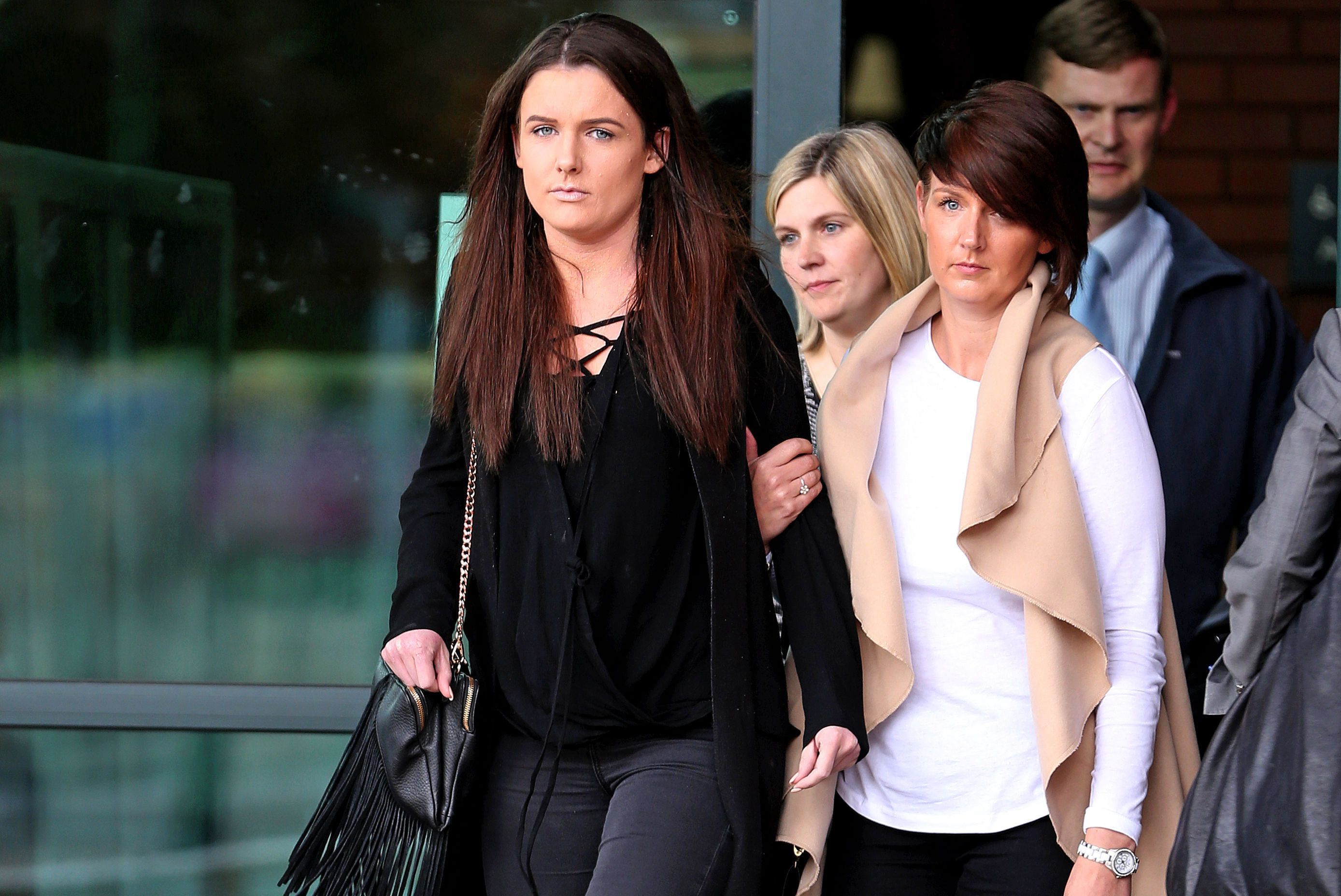 Gaby Scanlon, left, who had to have her stomach removed after drinking a cocktail mixed with liquid nitrogen, leaves Preston