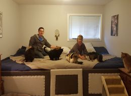 Couple Uses 11.5-Foot Bed To Maximize Cuddle Time With 5 Cats, 2 Dogs