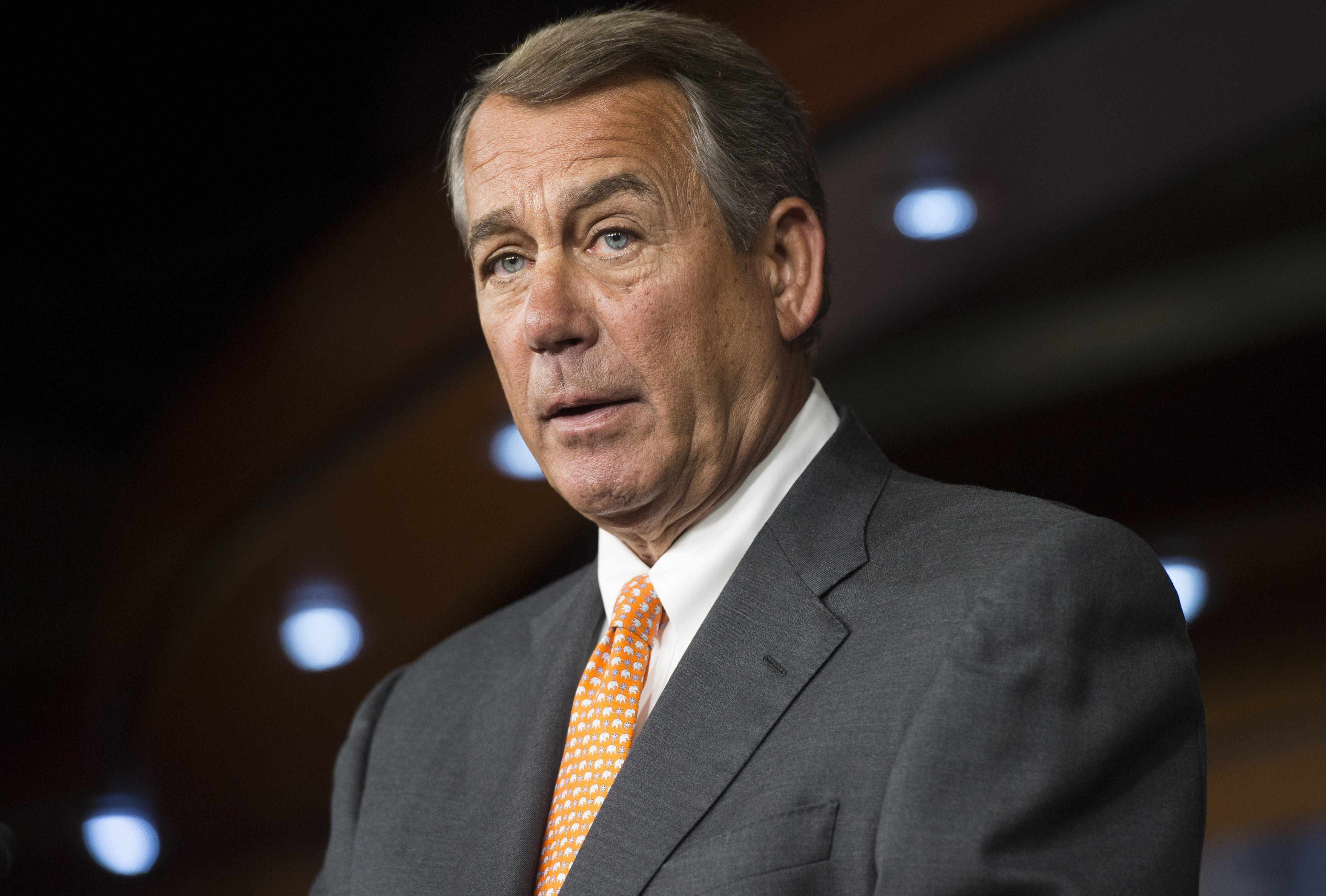 US Speaker of the House John Boehner speaks during a press conference on Capitol Hill in Washington, DC, September 10, 2015. AFP PHOTO / SAUL LOEB        (Photo credit should read SAUL LOEB/AFP/Getty Images)