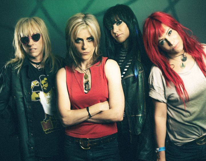 """The members of L7 -- (L-R) Suzi Gardner, Donita Sparks, Demetra """"Dee"""" Plakas and Jennifer Finch -- are in the middle of a hig"""