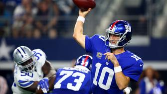 ARLINGTON, TX - SEPTEMBER 12: Eli Manning #10 of the New York Giants throws in the first quarter against the Dallas Cowboys at AT&T Stadium on September 13, 2015 in Arlington, Texas. (Photo by Ronald Martinez/Getty Images)