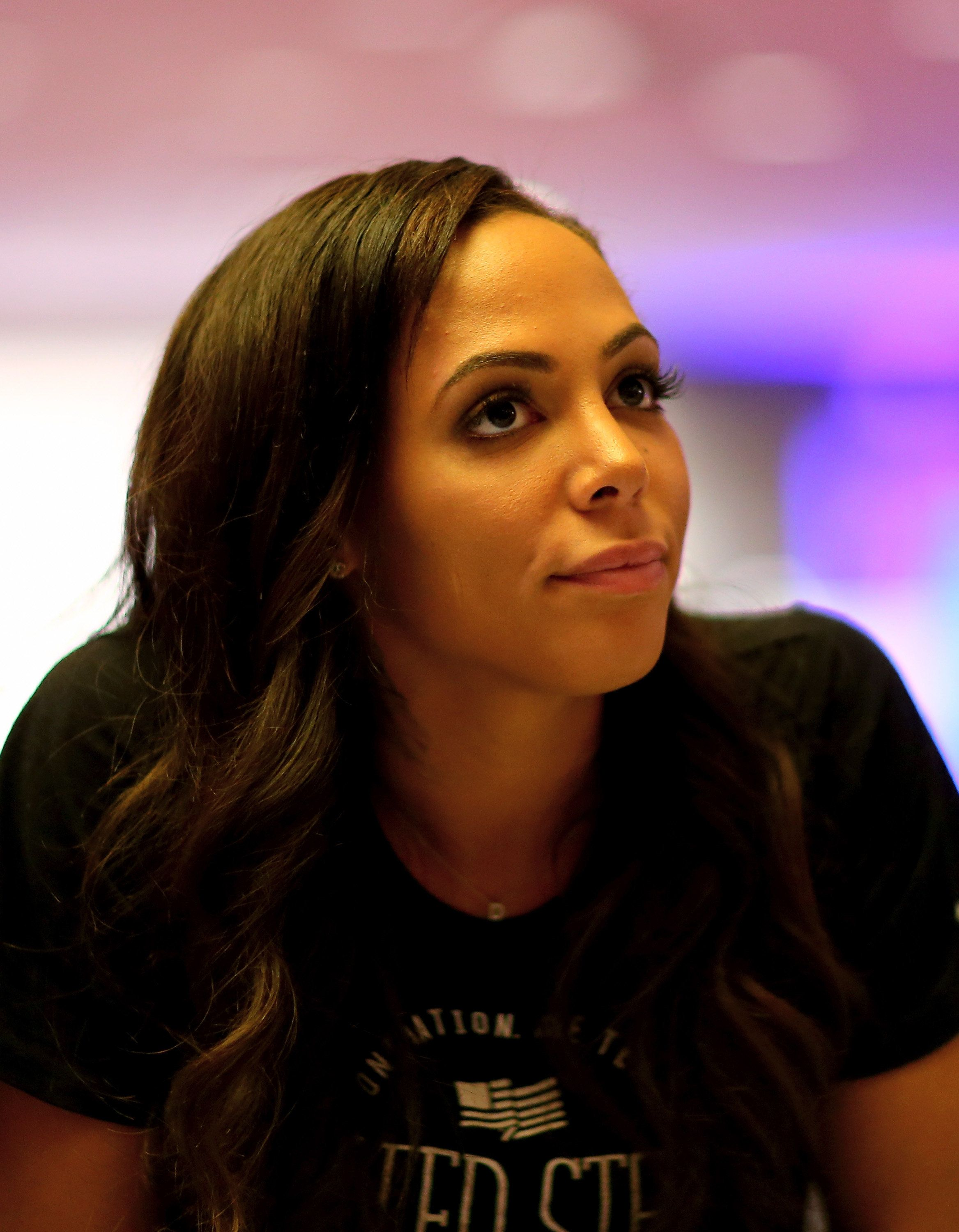 NEW YORK, NY - MAY 27:  Sydney Leroux answers questions during the United States Women's World Cup Media Day at Marriott Marquis Hotel on May 27, 2015 in New York City.  (Photo by Elsa/Getty Images)