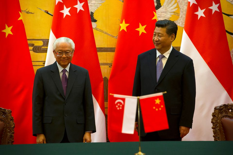 Singaporean President Tony Tan Keng Yam and President Xi attenda bilateral signing ceremony at the Great Hall of the Pe