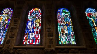Colorful beautyfull church windows in Galway