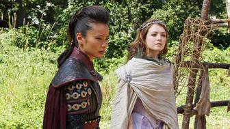 ONCE UPON A TIME - 'Lady of the Lake' - Emma and Mary Margaret, with the aid of Mulan, Aurora and brave knight Lancelot, attempt to find a portal that will bring them back to Storybrooke. But a dark force threatens their safe return. And Henry tries to talk Jefferson into reuniting with his daughter. Meanwhile, back in the fairytale land that was, on the eve of meeting Prince Charming's mother, King George poisons Snow White, and the only antidote lies within the waters of the Lady of the Lake, on 'Once Upon a Time,' SUNDAY, OCTOBER 14 (8:00-9:00 p.m., ET) on the ABC Television Network. (Photo by Jack Rowand/ABC via Getty Images) JAMIE CHUNG, SARAH BOLGER