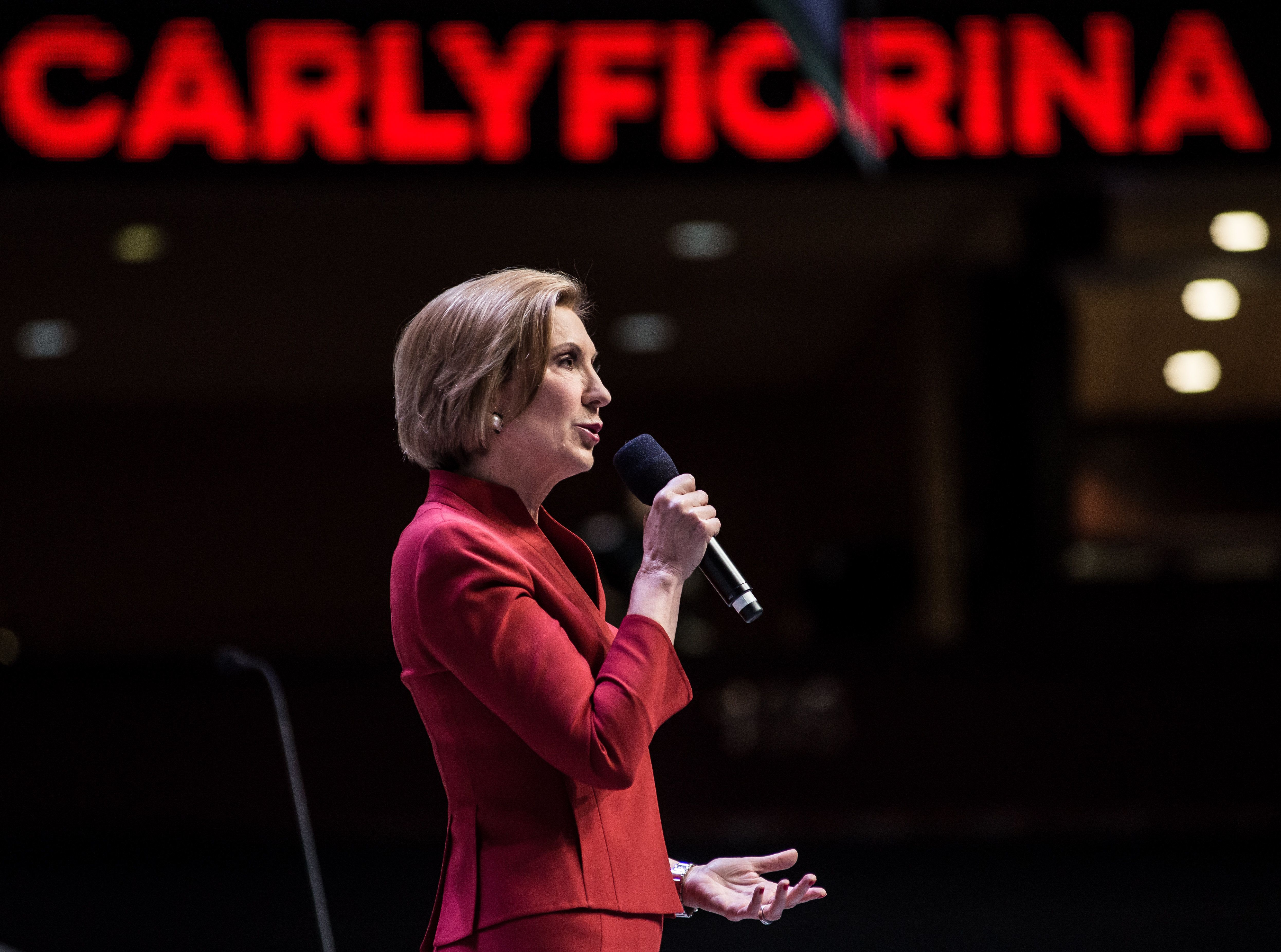 GREENVILLE, SC - SEPTEMBER 18:  Republican presidential candidate Carly Fiorina speaks to voters at the Heritage Action Presidential Candidate Forum September 18, 2015 in Greenville, South Carolina. Ten republican candidates were each given 25 minutes to talk to the crowd at the Bons Secours Wellness Arena in the upstate of South Carolina. (Photo by Sean Rayford/Getty Images)