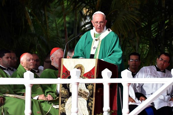 Pope Francis gives mass at Revolution Square in Havana, on September 20, 2015. Pope Francis greeted massive crowds of fans an