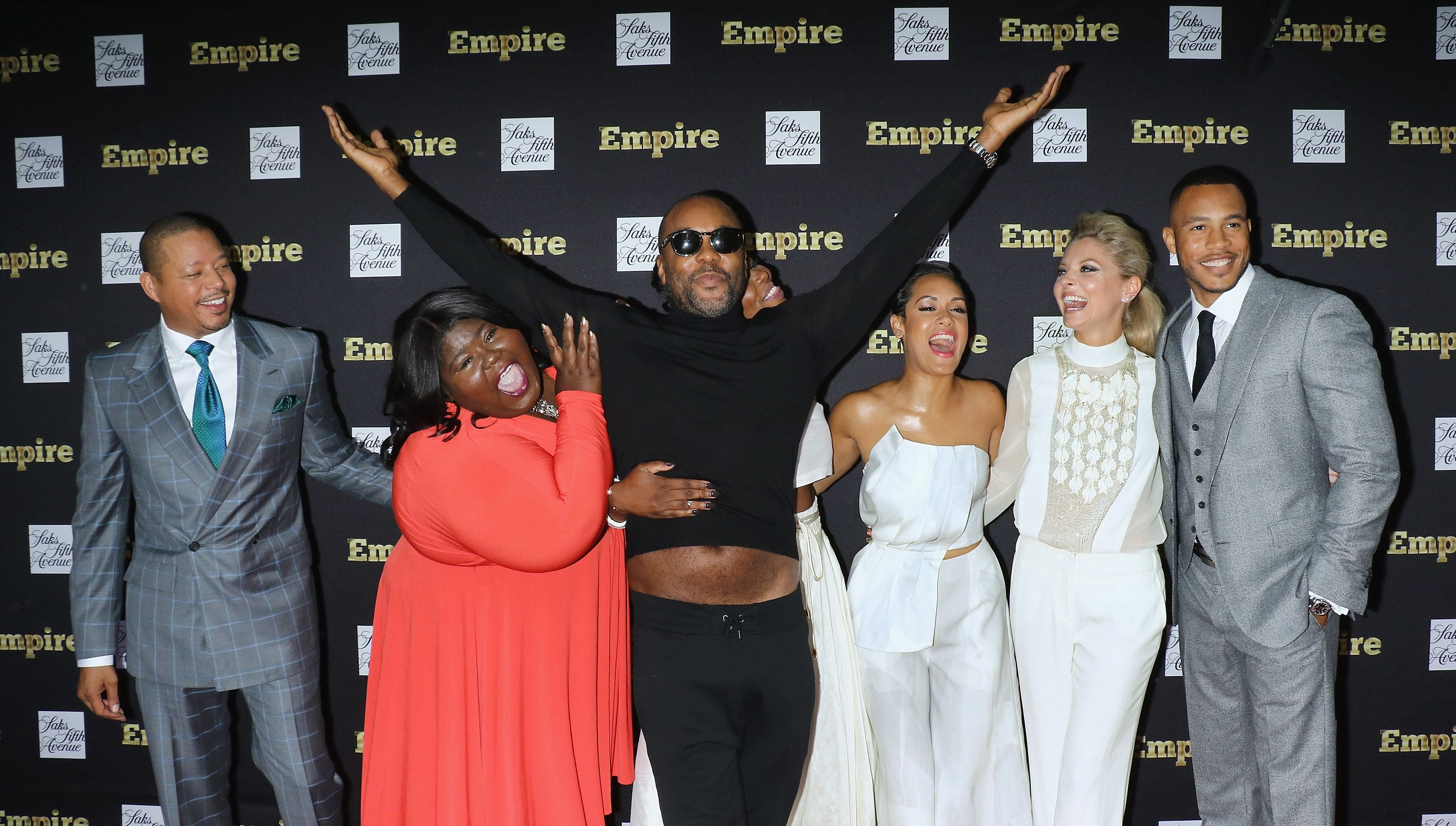 NEW YORK, NY - SEPTEMBER 12:  Actors Terrence Howard, Gabourey Sidibe, director/producer Lee Daniels, actress/rapper Ta'Rhonda Jones, actors Kaitlin Doubleday and Trai Byers attend the 'Empire' curated collection unveiling at Saks Fifth Avenue on September 12, 2015 in New York City.  (Photo by Jim Spellman/WireImage)