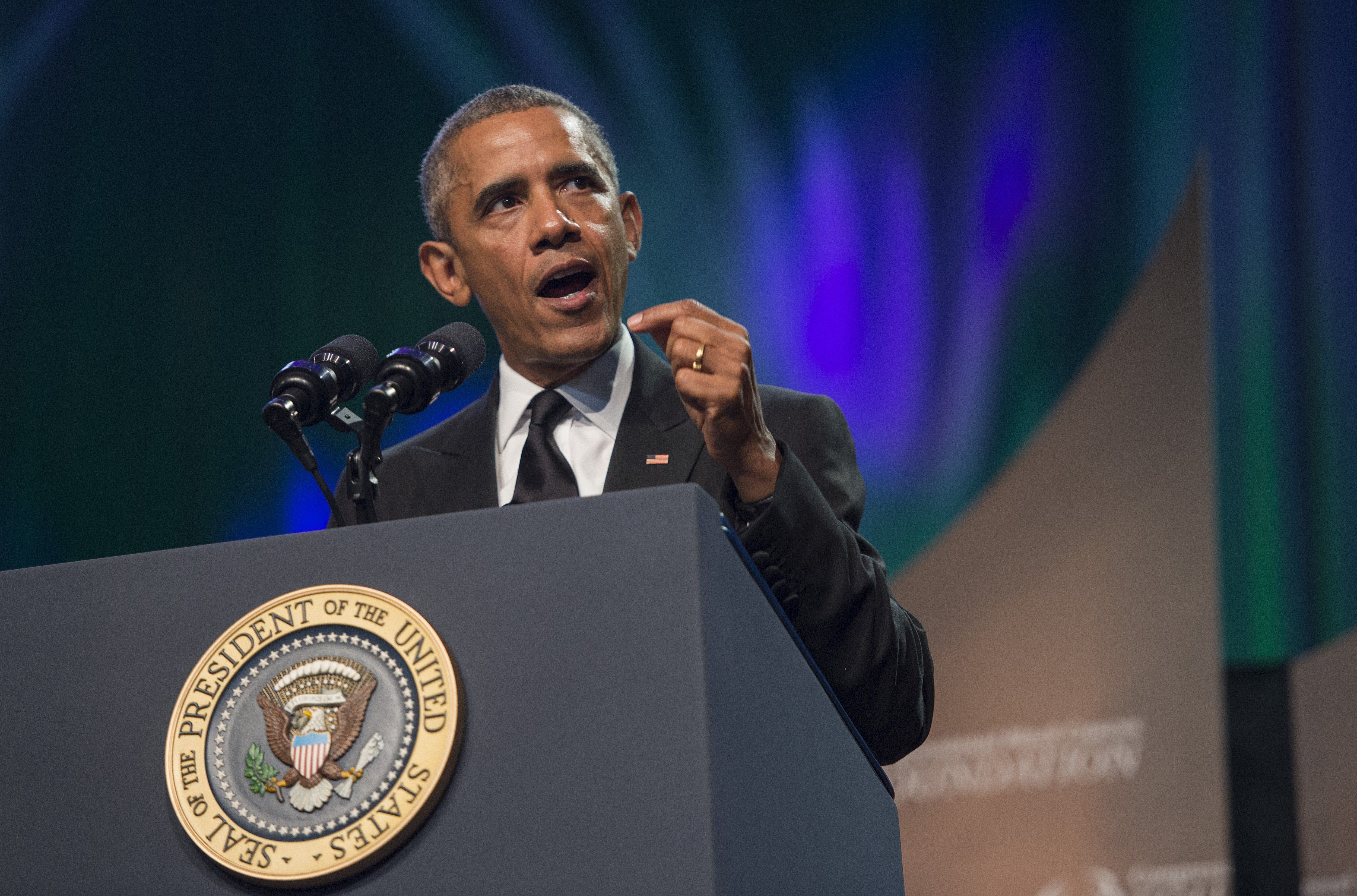 US President Barack Obama addresses the Congressional Black Caucus (CBC) Foundation's 45th Annual Legislative Conference in Washington, DC, on September 19, 2015.         AFP PHOTO/ JIM WATSON        (Photo credit should read JIM WATSON/AFP/Getty Images)