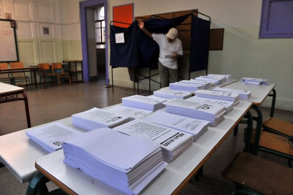 Ballot forms sit on a table at a polling station in Thessaloniki.