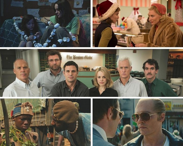 "Clockwise from top left: ""Room,"" ""Carol,"" ""Spotlight,"" ""Black Mass"" and ""Beasts of No Nation."""