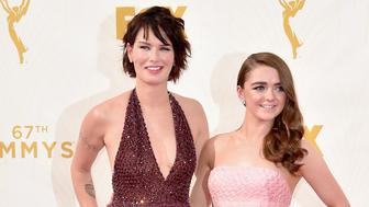 LOS ANGELES, CA - SEPTEMBER 20:  Actresses Lena Headey (L) and Maisie Williams attend the 67th Emmy Awards at Microsoft Theater on September 20, 2015 in Los Angeles, California. 25720_001  (Photo by Alberto E. Rodriguez/Getty Images for TNT LA)