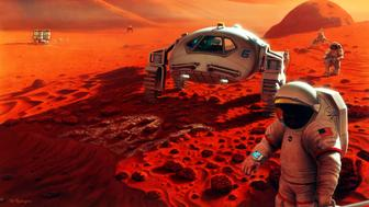 Manned mission to Mars concept art.