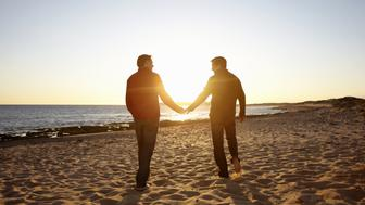 gay male couple spending leisure time together walking along the beach