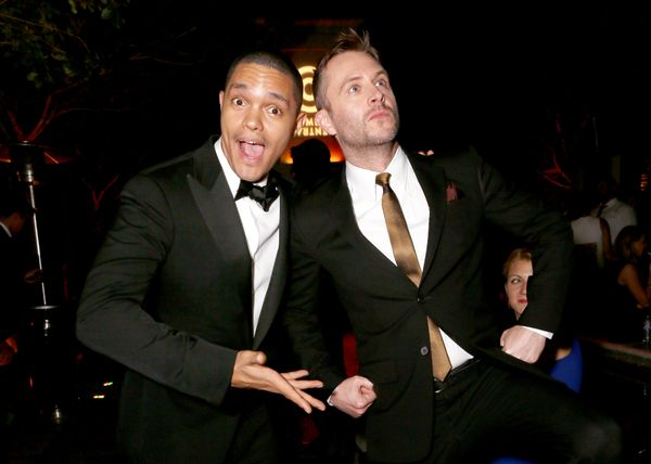 Trevor Noah and Chris Hardwick attend the Comedy Central Emmys After Party at Boulevard3 on Sept.20, 2015, in Hollywood