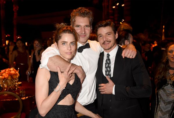 Amanda Peet, David Benioff, and Pedro Pascal attend HBO's Official 2015 Emmy After Party at The Plaza at the Pacific Design C