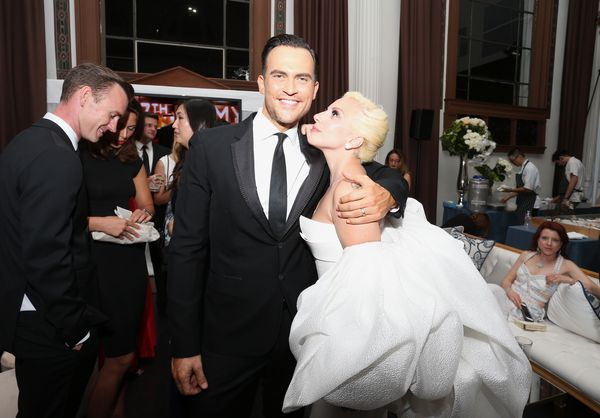 Actor Cheyenne Jackson and Lady Gaga attend the 67th Primetime Emmy Awards Fox after party on Sept. 20, 2015, in Los Angeles,