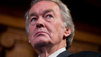 UNITED STATES - JANUARY 14: Sen. Ed Markey, D-Mass., attends a news conference in the Capitol to announce the newly formed Senate Climate Change Task Force. (Photo By Tom Williams/CQ Roll Call)