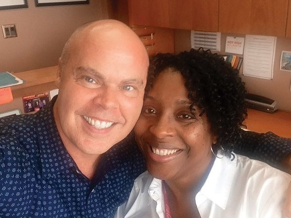 Jay McMinn: I took a selfie with my friend and colleague Sherri-Ann, who coordinates our company's volunteers for the AIDS Wa