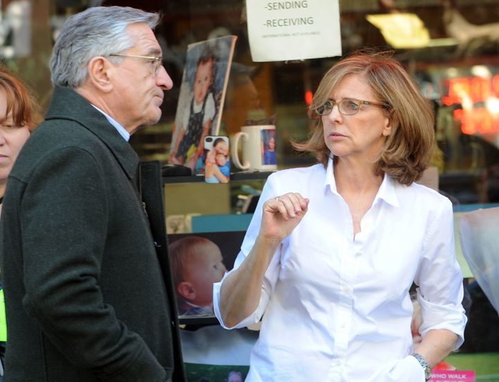 """Robert De Niro and Nancy Meyers are seen on the set of """"The Intern"""" on June 23, 2014."""