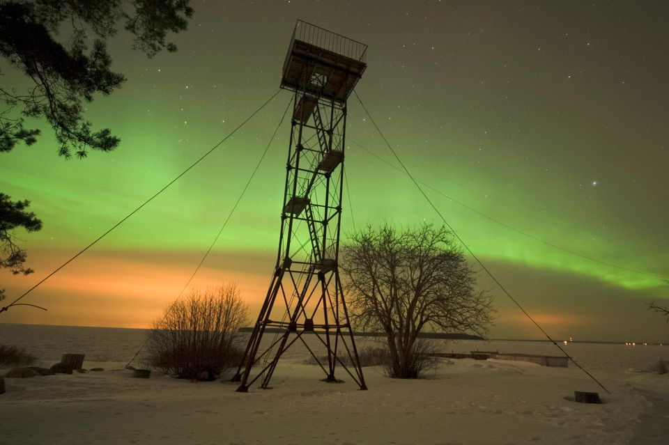 The Northern lights are seen in Tallinn, Finland, on March 17, 2013.