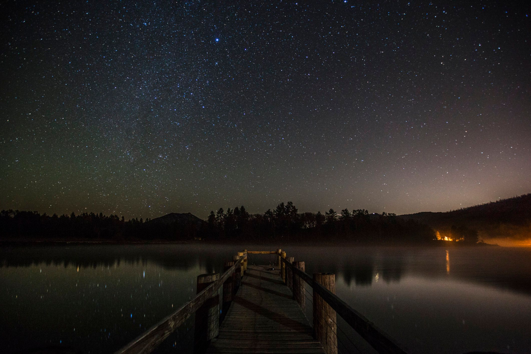 Milky Way galaxy over Lake Cuyamaca, California, USA