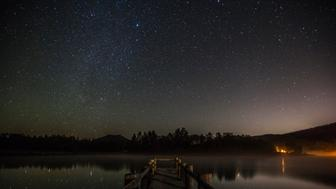 Milky Way galaxy over Lake Cuyamaca, California, USA