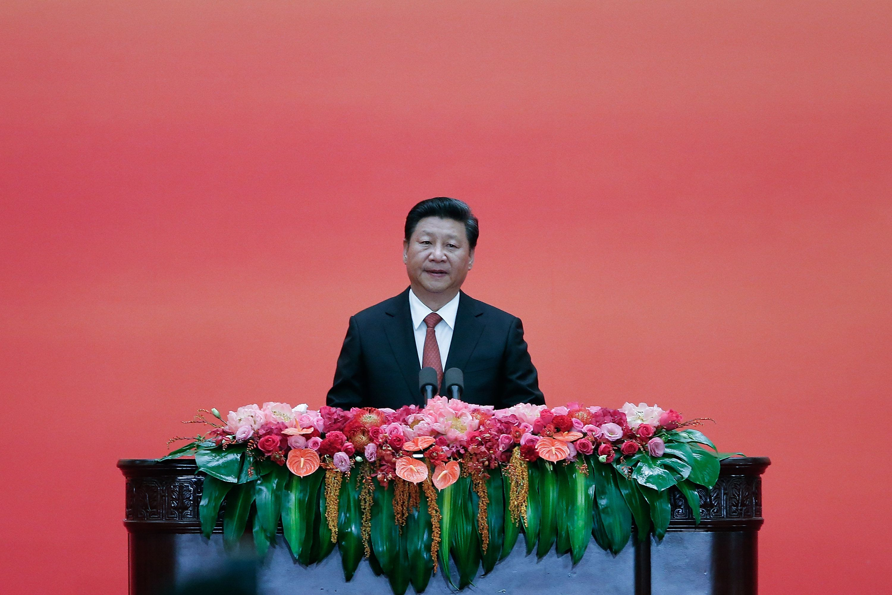 BEIJING, CHINA - SEPTEMBER 03:  Chinese President Xi Jinping speaks  during the Reception Commemorating the 70th Anniversary of the Victory of the Chinese People's War of Resistance Against Japanese Aggression and the World Anti-Fascist War at The Great Hall Of The People on September 3, 2015 in Beijing, China. China is marking the 70th anniversary of the end of World War II and its role in defeating Japan with a new national holiday and a military parade in Beijing.  (Photo by Lintao Zhang/Getty Images)