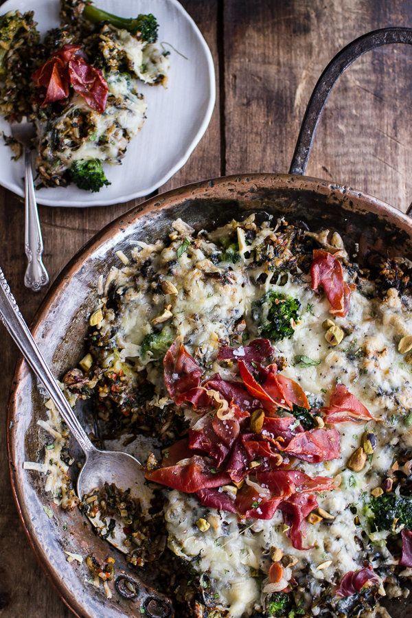 "<strong>Get the <a href=""http://www.halfbakedharvest.com/harissa-broccoli-spinach-wild-rice-casserole-crispy-prosciutto/"" tar"